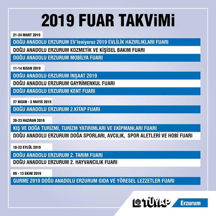 Erzurum TÜYAP 2019 Fuar Takvimi