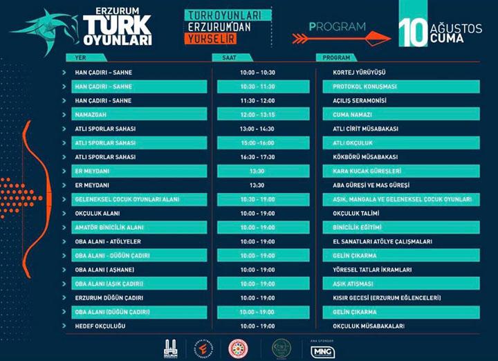 Erzurum Türk Oyunları Programı