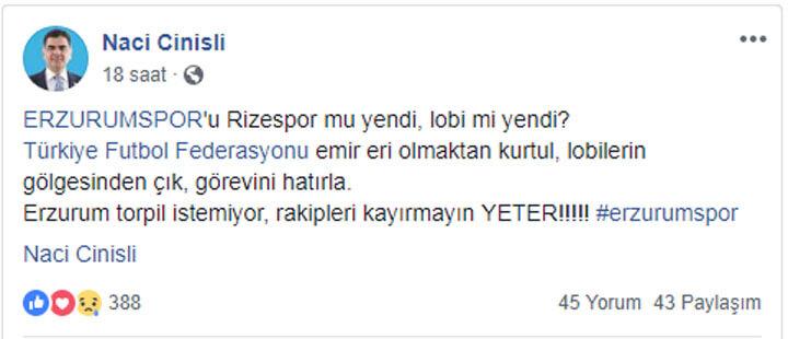 Naci Cinisli Erzurumspor Tepki