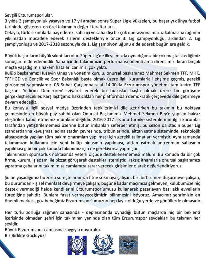 Erzurumspor Mesaj