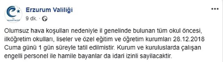 Erzurum'da Okullara Kar Tatili!