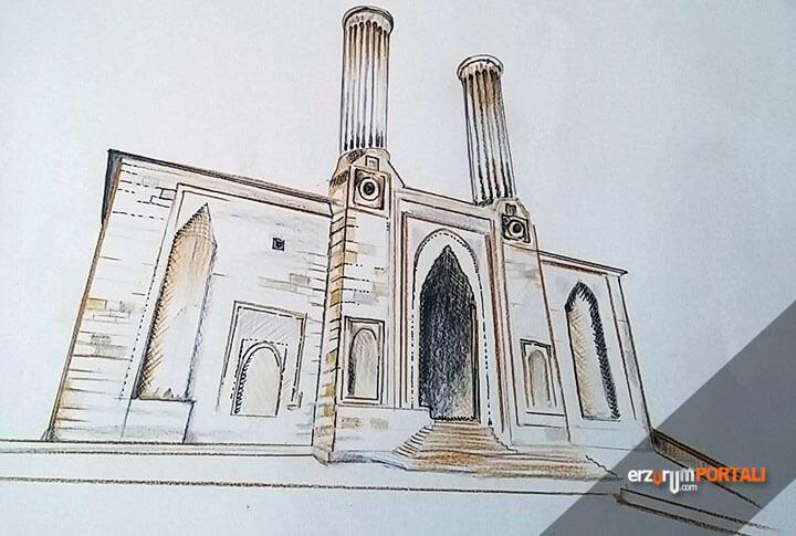 cifte minareli medrese yi resmeden